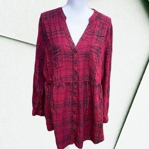 Torrid Plus Size 3 Long Sleeve Plaid Button Up